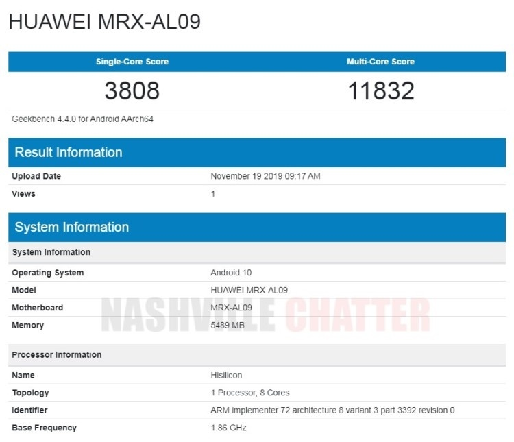 Планшет Huawei MatePad Pro появился в базе Geekbench с чипом Kirin 990 и 6 Гбайт ОЗУ