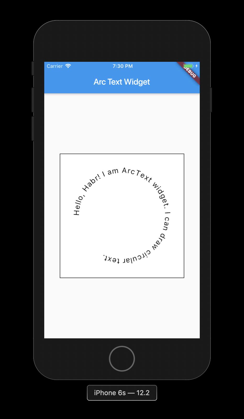 Flutter: рисуем текст вдоль окружности - 1