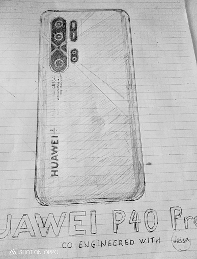 Huawei P40 Pro нарисовали на бумаге