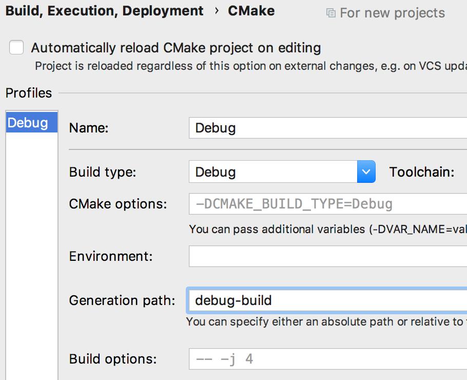 CMake defaults