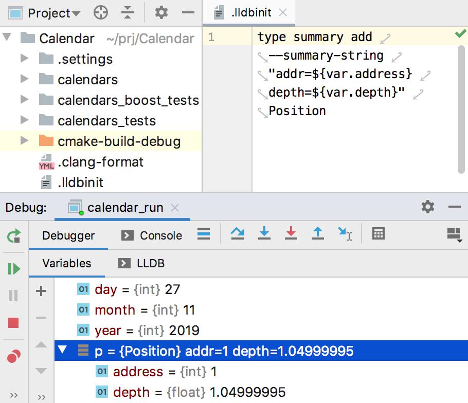 LLDB init config