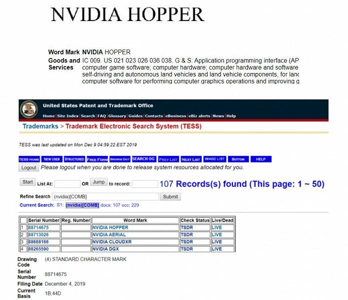 Многочиповые GPU Nvidia на подходе? Компания зарегистрировала торговую марку Hopper