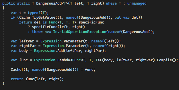 Unsafe generic math in C# - 1