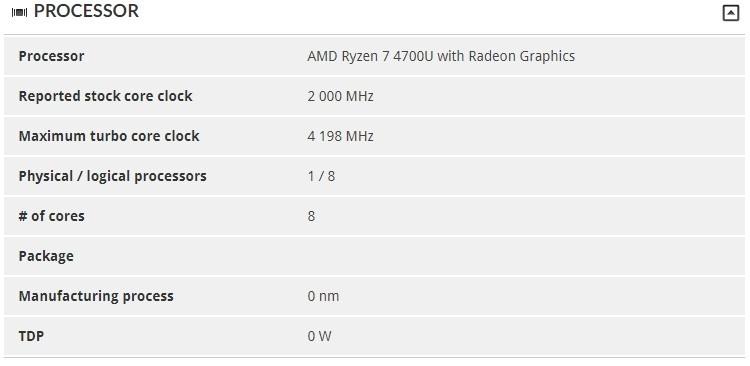 AMD Ryzen 7 4700U «засветился» в 3DMark: восемь ядер Zen 2 с частотой до 4,2 ГГц
