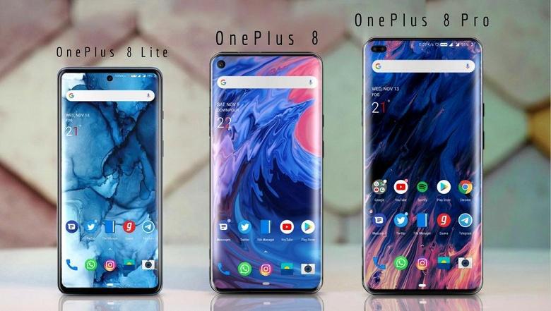 Все три модели OnePlus 8 на одном изображении