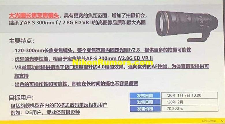 Названы цены объективов Nikon AF-S Nikkor 120-300mm f/2.8E FL ED SR VR и Nikkor Z 70-200mm f/2.8