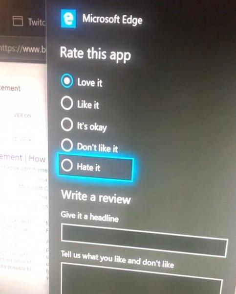 Ненавидящие браузер Microsoft Edge не могут выставить ему соответствующую оценку в сборках Windows Insider