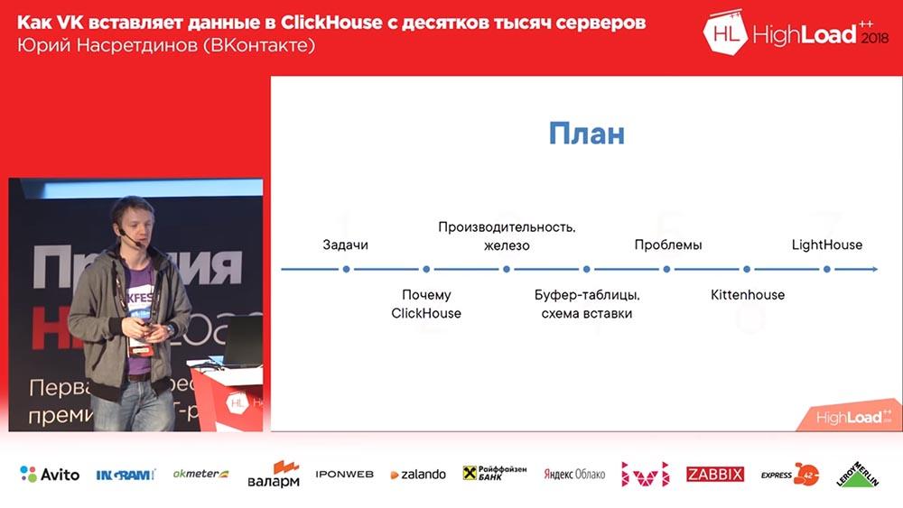 HighLoad++, Юрий Насретдинов (ВКонтакте): как VK вставляет данные в ClickHouse с десятков тысяч серверов - 2