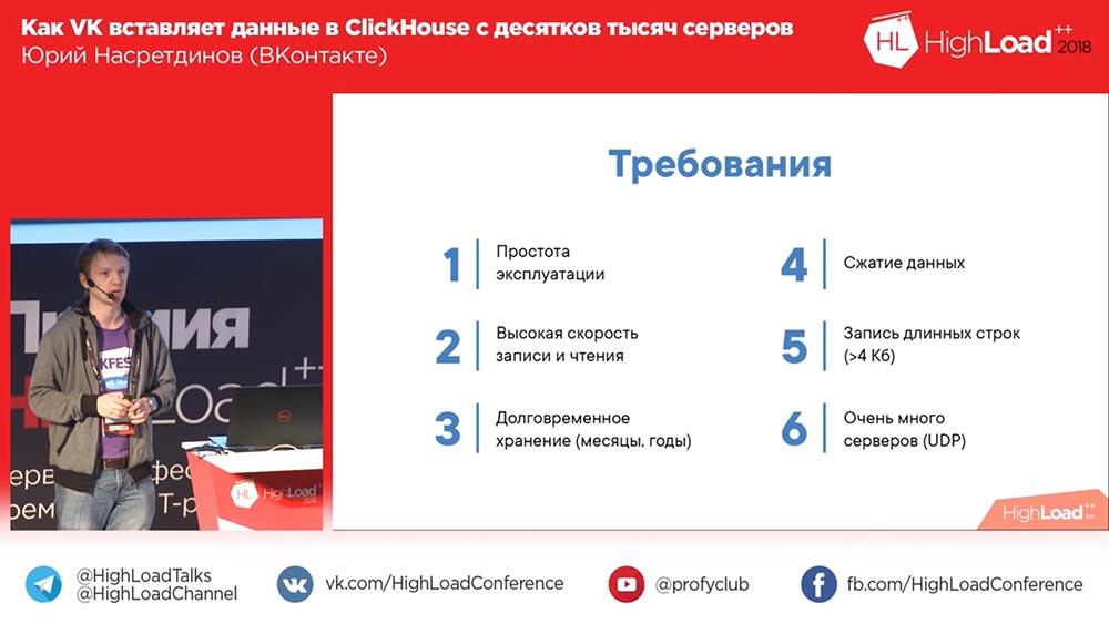 HighLoad++, Юрий Насретдинов (ВКонтакте): как VK вставляет данные в ClickHouse с десятков тысяч серверов - 6