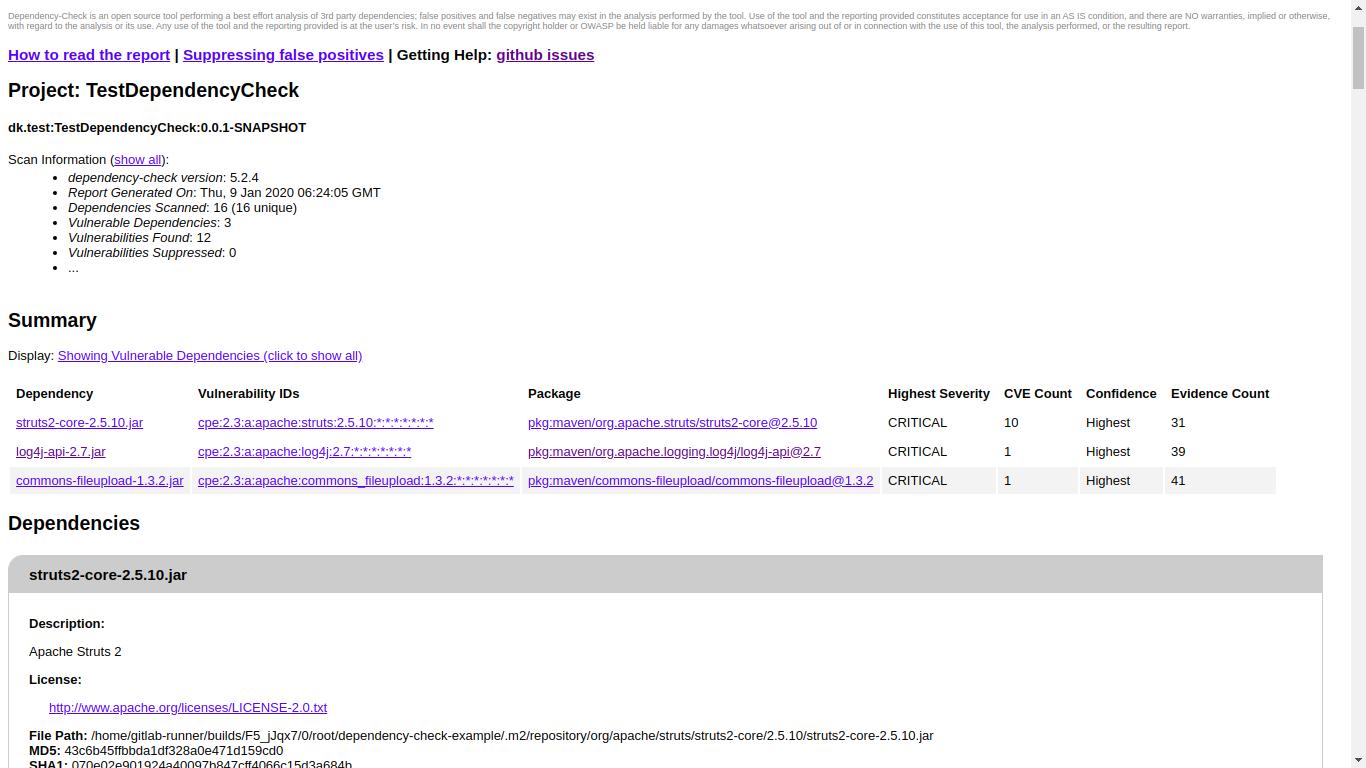 Использование сканера уязвимостей в используемых библиотеках Dependency-Check в GitlabCI - 2