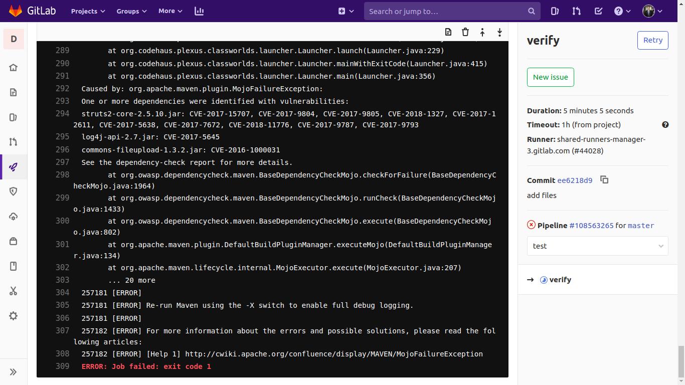 Использование сканера уязвимостей в используемых библиотеках Dependency-Check в GitlabCI - 6