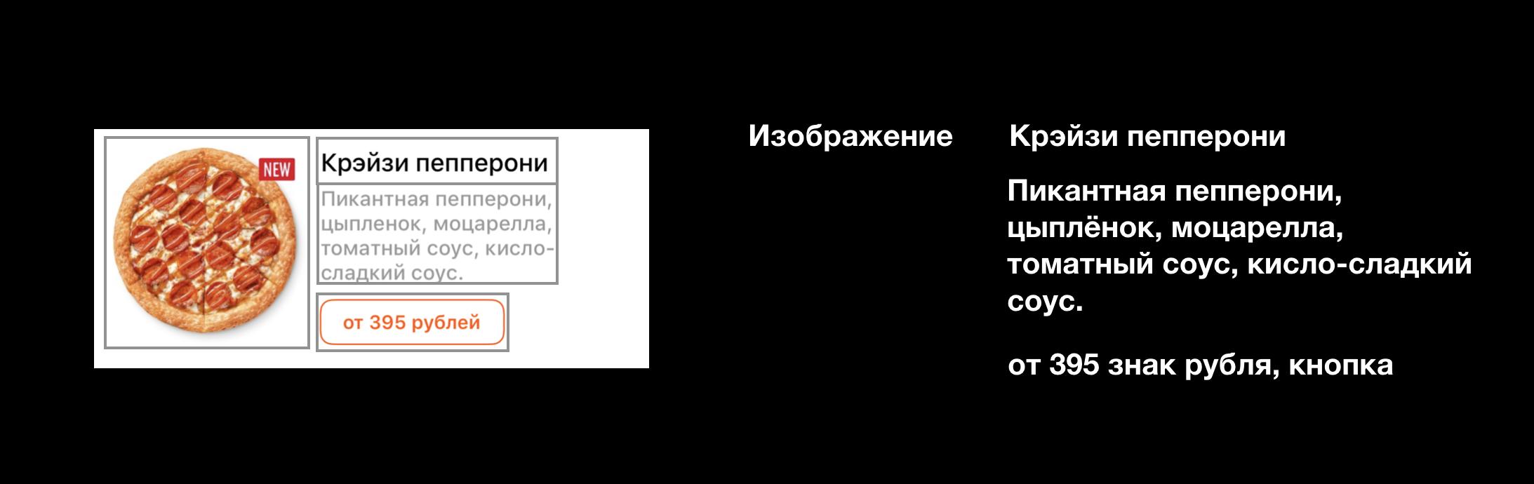 Ячейка меню, в которой элементы не сгруппированы