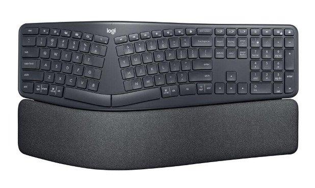 Основной блок клавиш эргономичной клавиатуры Logitech ERGO K860 разделен на две части