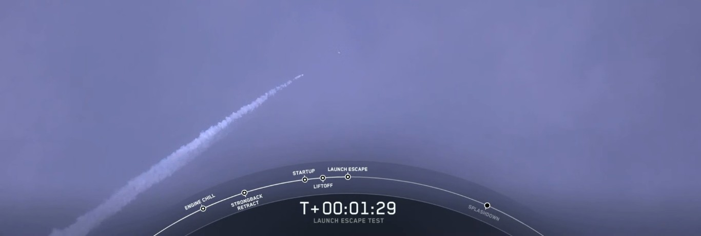 SpaceX успешно провела испытание системы спасения корабля Crew Dragon - 1