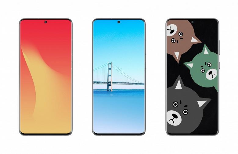 Samsung Galaxy S20 Ultra позирует с яркими обоями