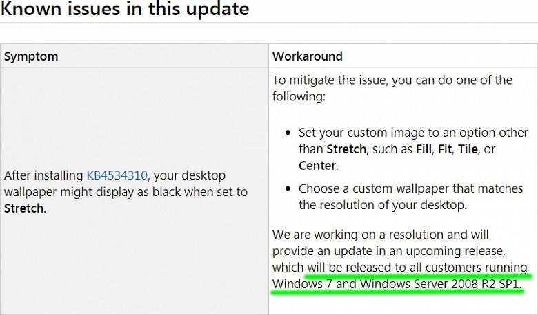 Исправление ошибки в Windows 7, из-за которой вместо обоев отображается черный фон, будет доступно всем