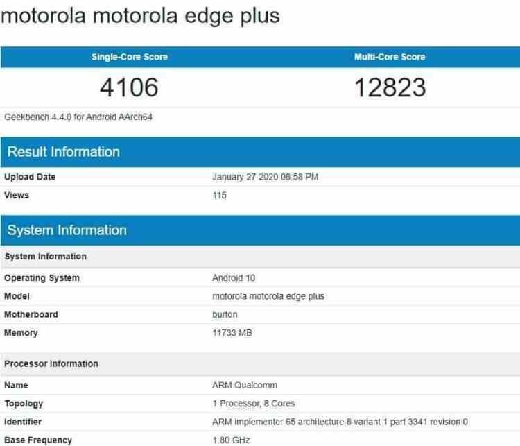 Флагман Motorola Edge+ появился в базе Geekbench с чипом Snapdragon 865 и 12 Гбайт ОЗУ