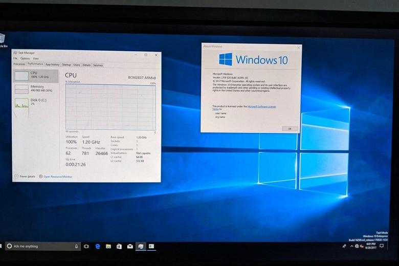 Windows 10 запущена на Raspberry Pi 4