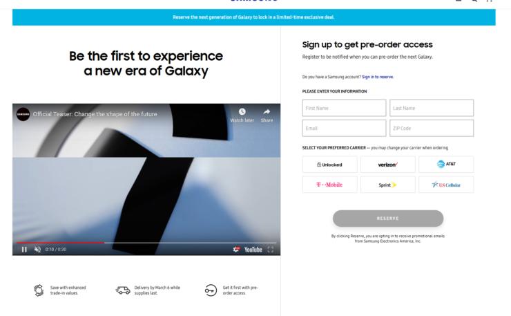 Официальная регистрация для покупки Samsung Galaxy S20 открыта задолго до анонса