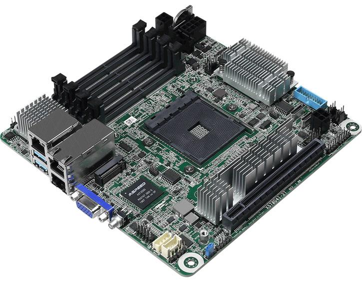 Системная плата ASRock X570D4I-2T типоразмера mini-ITX X570 оснащена двумя портами 10 GbE
