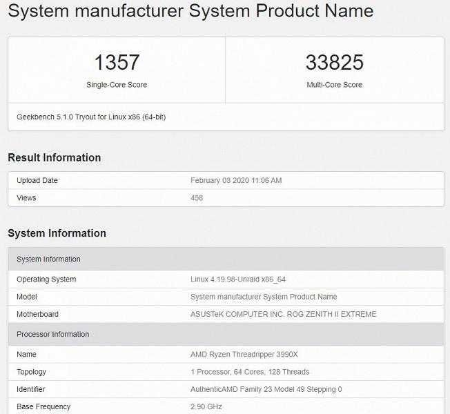 64-ядерный AMD Ryzen Threadripper 3990X уничтожает практически любой процессор Intel в новом тесте