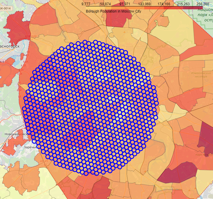 Example of the hexagonal grid of area candidates