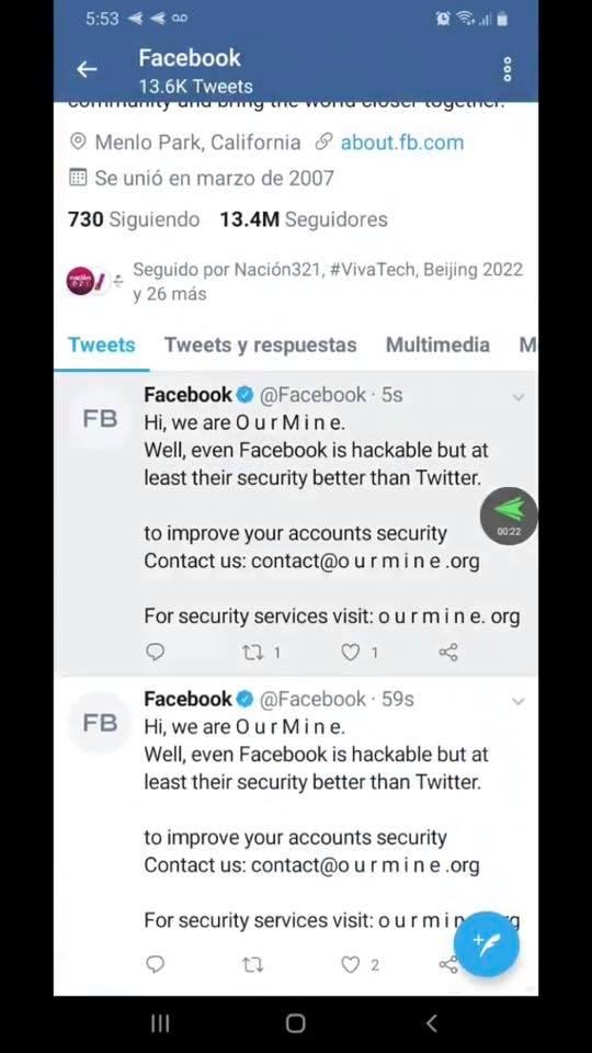 Хакеры взломали официальный аккаунт Facebook в Twitter - 1