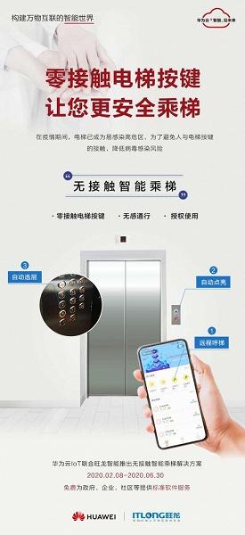 Huawei предлагает управлять лифтами со смартфона, чтобы снизить риск заражения коронавирусом