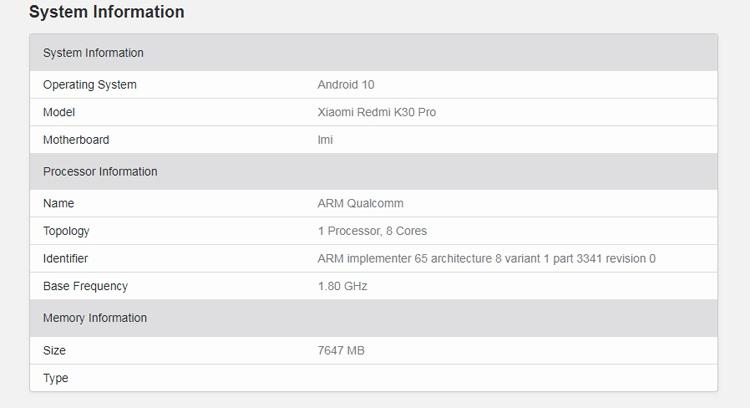 Подтверждено наличие выдвижной камеры у смартфона Xiaomi Redmi K30 Pro
