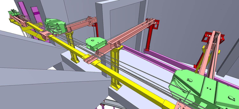 Трассировка канатов в 3D, проектирование канатно-блочной системы подвеса противопожарного занавеса
