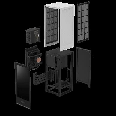 Корпус NZXT H1 рассчитан на плату типоразмера mini-ITX и укомплектован блоком питания и СЖО