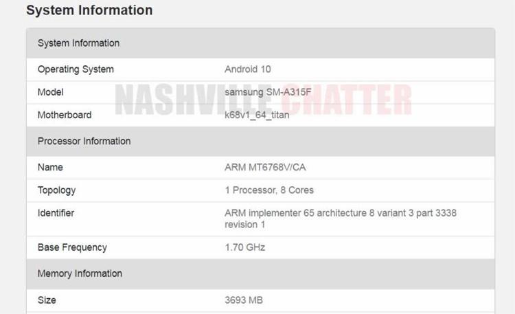 В основу смартфона-середнячка Samsung Galaxy A31 ляжет процессор MediaTek
