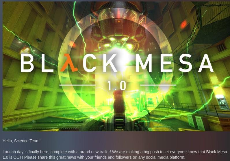Релиз Black Mesa 1.0 доступен в Steam - 2