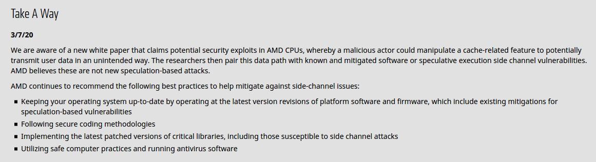Исследователи обнаружили уязвимости в процессорах AMD на базе микроархитектур Bulldozer, Piledriver, Steamroller и Zen - 3