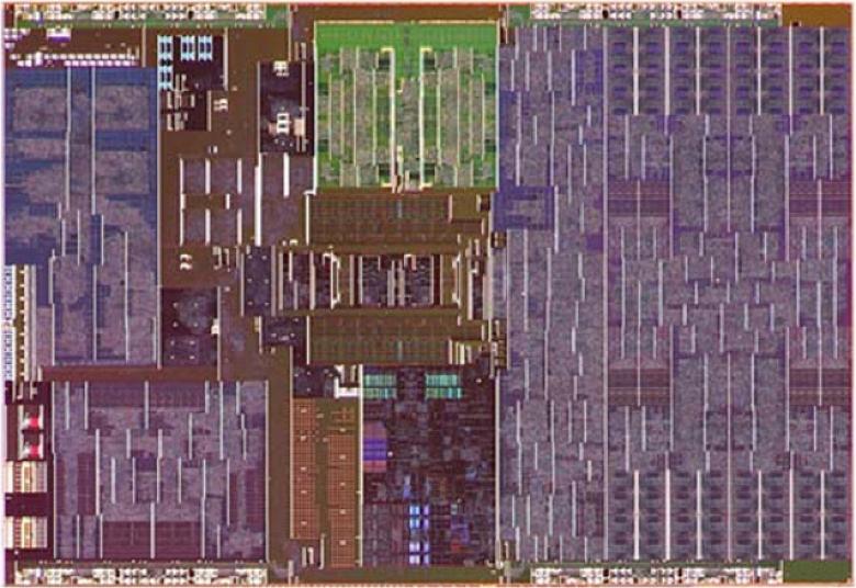 Фото кристалла самого необычного процессора Intel. Четыре крошечных ядра и огромный GPU