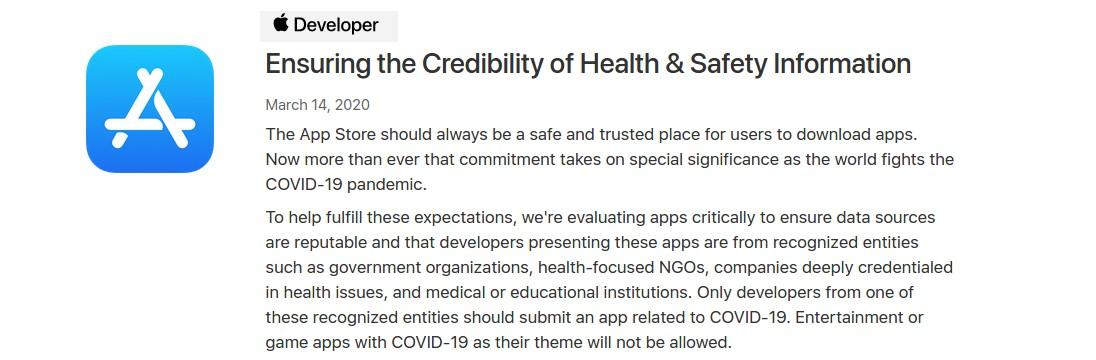Apple накладывает ограничения на все приложения про коронавирус в App Store, игры на эту тему теперь запрещены - 1
