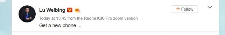 Xiaomi Redmi K30 Pro Zoom Edition подтверждён генеральным директором компании
