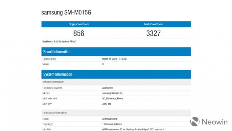 Samsung Galaxy M01 появился в базе данных Geekbench