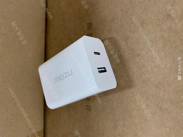 Так выглядит 65-ваттное зарядное устройство Meizu с нитридом галлия. Фото адаптера для Meizu 17