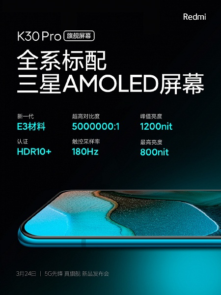 E3 Super AMOLED, 180 Гц, 5 000 000:1, 1200 кд/м<SUP>2</SUP>, HDR10+. Такой дисплей получил Redmi K30 Pro