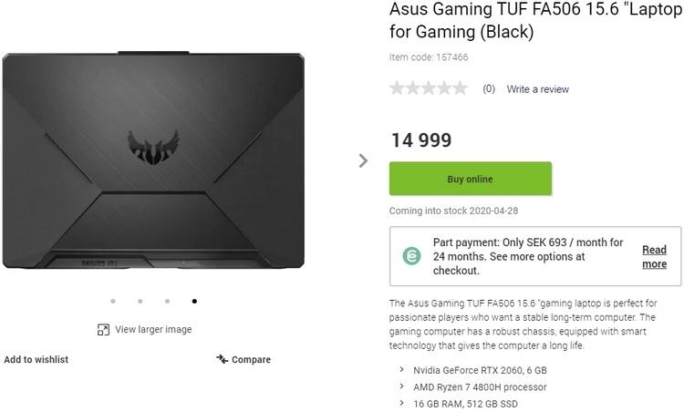 Шведский магазин обещает ноутбуки ASUS на Ryzen 4000 только к концу апреля