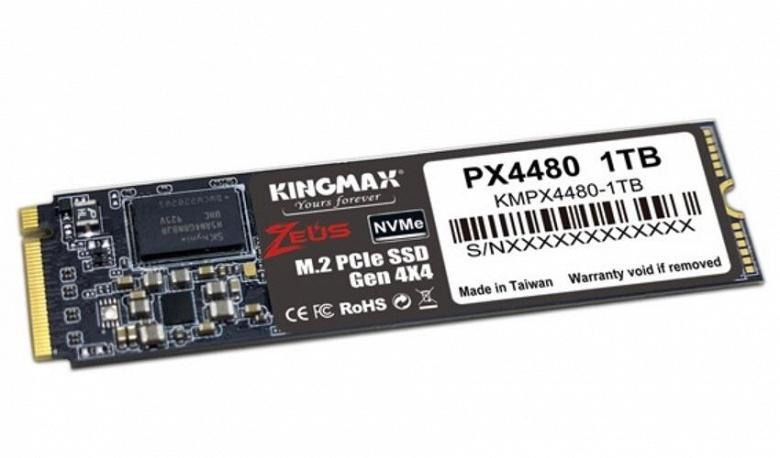 Твердотельные накопители Kingmax Zeus PX4480 типоразмера M.2 оснащены интерфейсом PCIe Gen4 x4