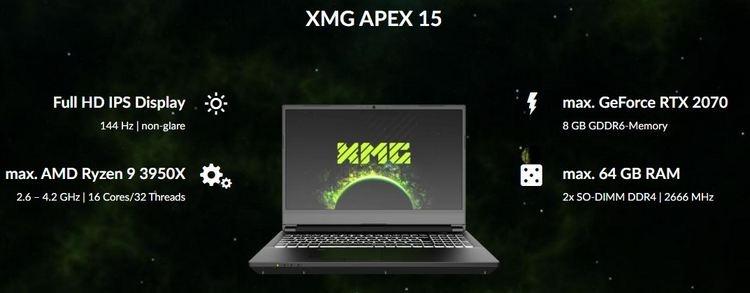Игровой ноутбук XMG Apex 15 получил версию с десктопным 16-ядерным Ryzen 9 3950X