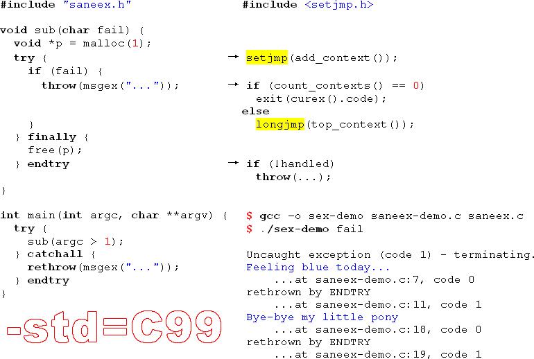 saneex.c: try-catch-finally на базе setjmp-longjmp (C99) быстрее стандартных исключений C++¹ - 1
