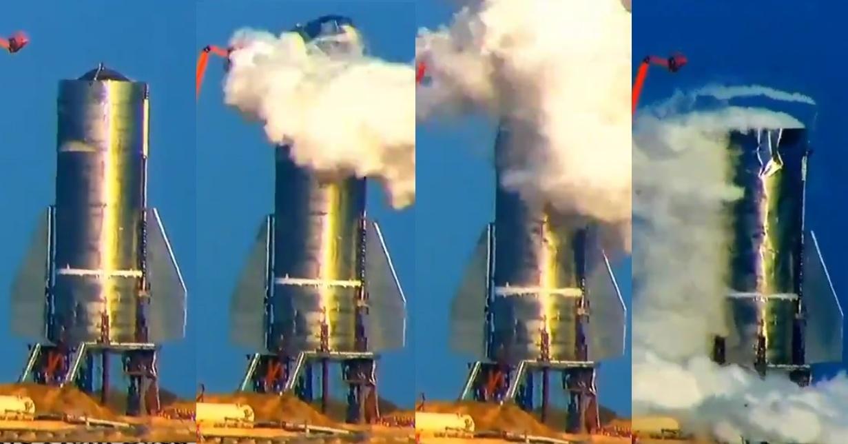 SpaceX провела испытание прототипа Starship SN3, которое закончилось разрушением его элементов - 3