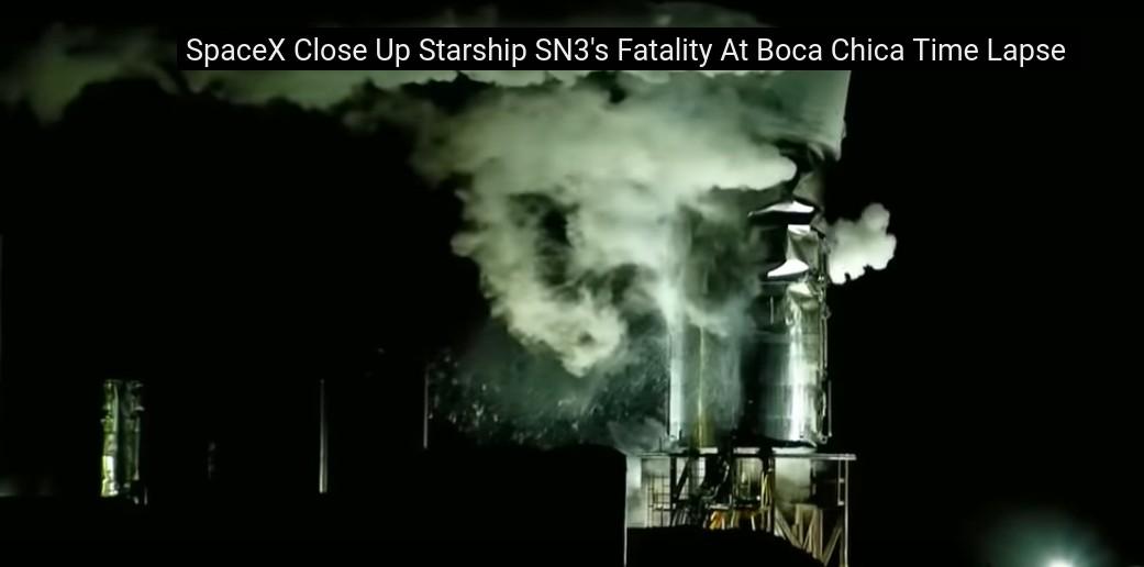 SpaceX провела испытание прототипа Starship SN3, которое закончилось разрушением его элементов - 1