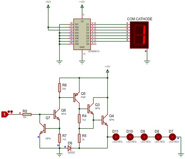 Common cathode 7 segment connection