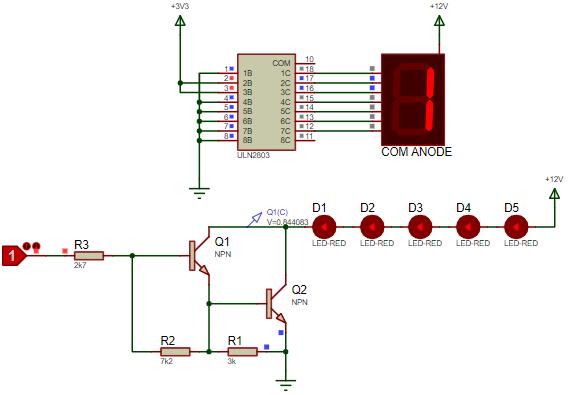 Common anode 7 segment connection