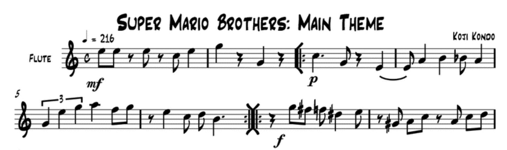 Марио. Ноты
