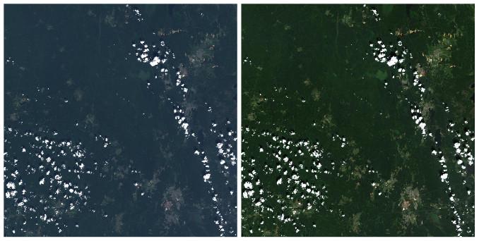 Спутниковый снимок до и после обработки с помощью Sen2Cor